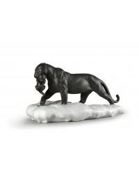 """Скульптура """"Черная пантера с детенышем"""""""