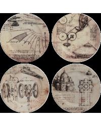 """Комплект блюдец для кондитерских изделий """"Изобретения"""" """"Леонардо Да Винчи""""/""""Leonard De Vinci """" 4 шт."""