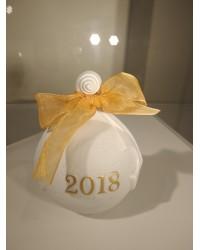 """Ёлочная игрушка """"Рождественский шар"""" 2018 (желтый)"""